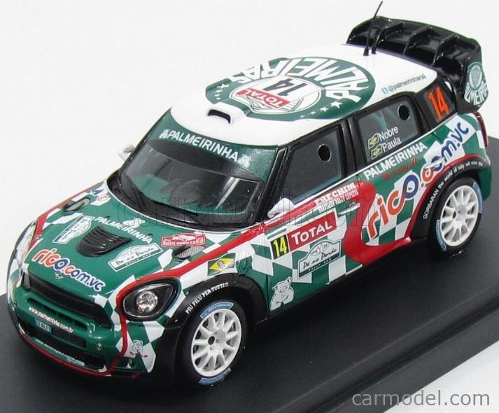 SPARK-MODEL S3352 Echelle 1/43  MINI JOHN COOPER WORKS WRC N 14 20th RALLY MONTECARLO 2012 P.NOBRE - E.PAULA GREEN WHITE RED
