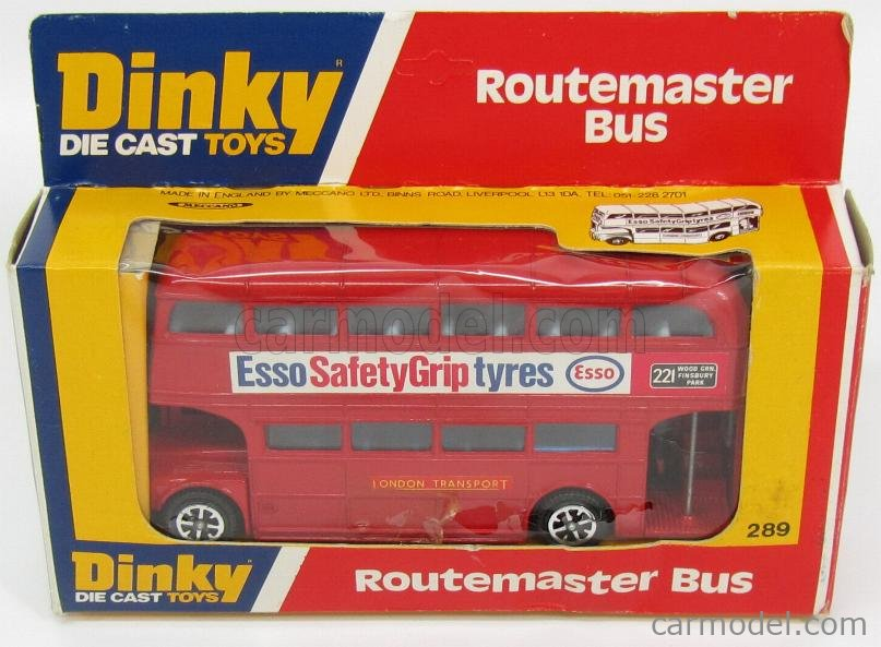 DINKY ENGLAND 289 Escala 1/50  ROUTEMASTER AUTOBUS LONDON TRASPORT ESSO 1956 RED