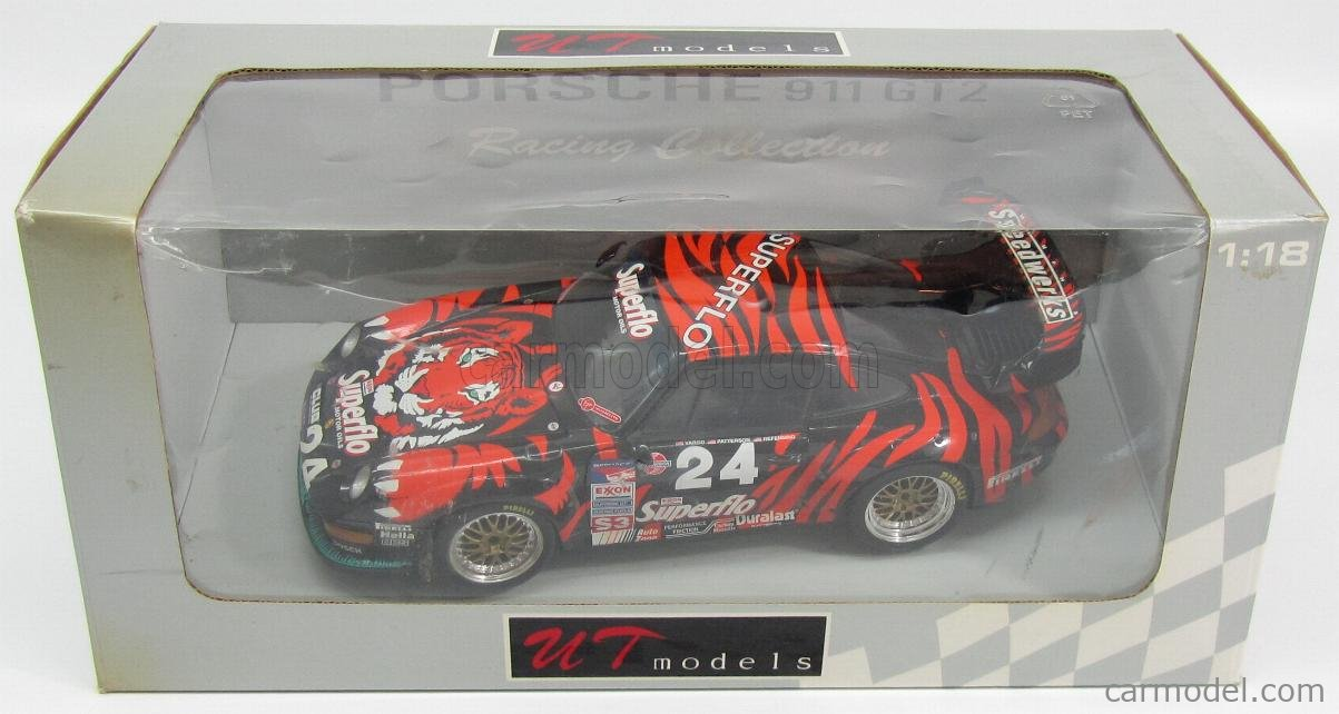 UT-MODELS 39815 Echelle 1/18  PORSCHE 911 993 GT2 SUPERFLO N 24 SEBRING 1998 VARGO - PATTERSON - REFENNING BLACK RED