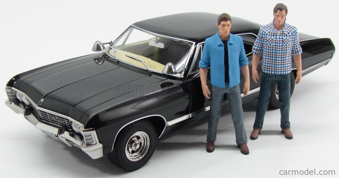 Greenlight 19021 Scale 1 18 Chevrolet Impala Sport Sedan 4 Door With 2 Figures 1967 Supernatural Join The Hunt Black