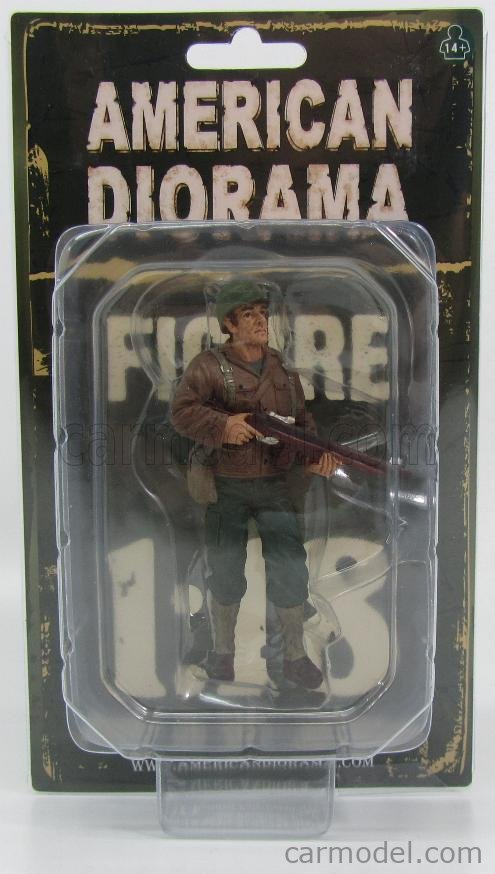 AMERICAN DIORAMA 77411 Masstab: 1/18  FIGURES SOLDATO AMERICANO CON FUCILE - USA SOLDIER II WITH RIFLE GUN GREEN BROWN