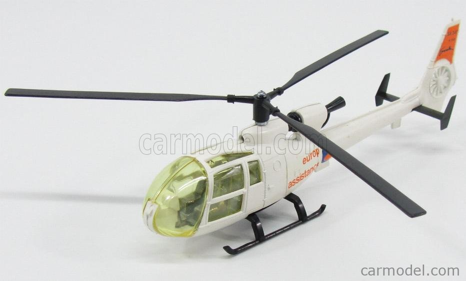 SOLIDO 381A Scale 1/43  HELICOPTER GAZELLE EUROP'ASSISTANCE WITH FIGURE WHITE